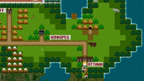 "This is what Canada looks like in the game, complete with 8-bit Dragon Quest sounds and chiptunes for ""Oh Canada"" and ""Blame Canada""."