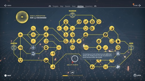 Full synchronization and most of the skill tree filled up. You can still grind skill points beyond the level 40 cap, you only stop gaining levels. Expansions raise the level cap, but I don't care about DLC in this case.