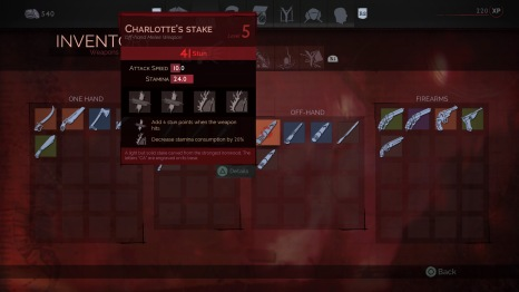 A properly leveled stake allows massive stun damage, making blood-sucking (biting) very easy with just 1-3 hits of the stake. Charlotte's Stake was not the fastest stake but the best stun I found.