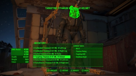 Mk.VI X-01 Power Armor with special upgrades to the HUD that highlights hostiles and items, titanium plating, etc.